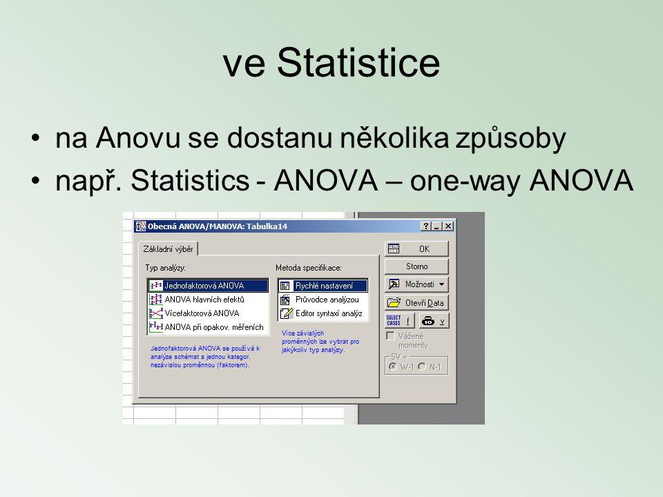 ve Statistice na Anovu se dostanu několika způsoby např. Statistics - ANOVA – one-way ANOVA