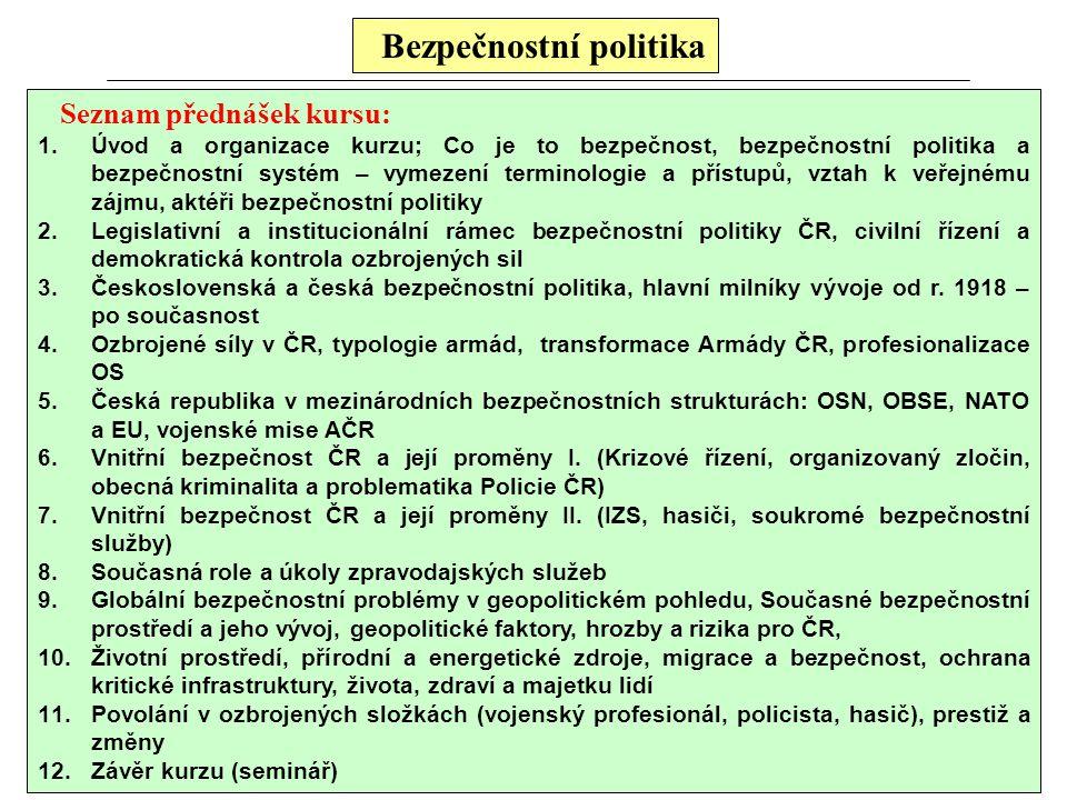 Bezpečnostní politika Seznam přednášek kursu: 1.Úvod a organizace kurzu; Co je to bezpečnost, bezpečnostní politika a bezpečnostní systém – vymezení t