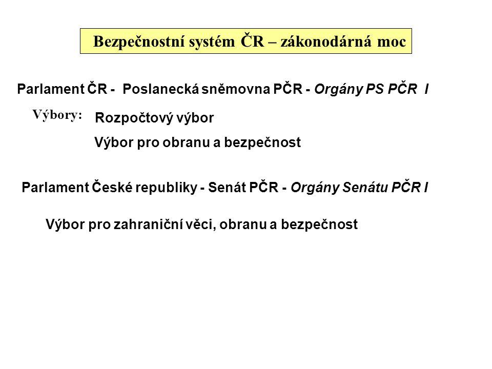 Bezpečnostní systém ČR – zákonodárná moc Parlament ČR - Poslanecká sněmovna PČR - Orgány PS PČR I Výbory: Rozpočtový výbor Výbor pro obranu a bezpečno