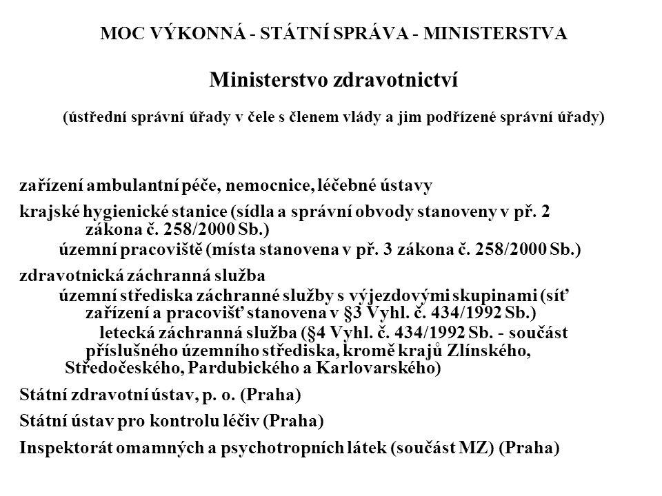 MOC VÝKONNÁ - STÁTNÍ SPRÁVA - MINISTERSTVA Ministerstvo zdravotnictví (ústřední správní úřady v čele s členem vlády a jim podřízené správní úřady) zař