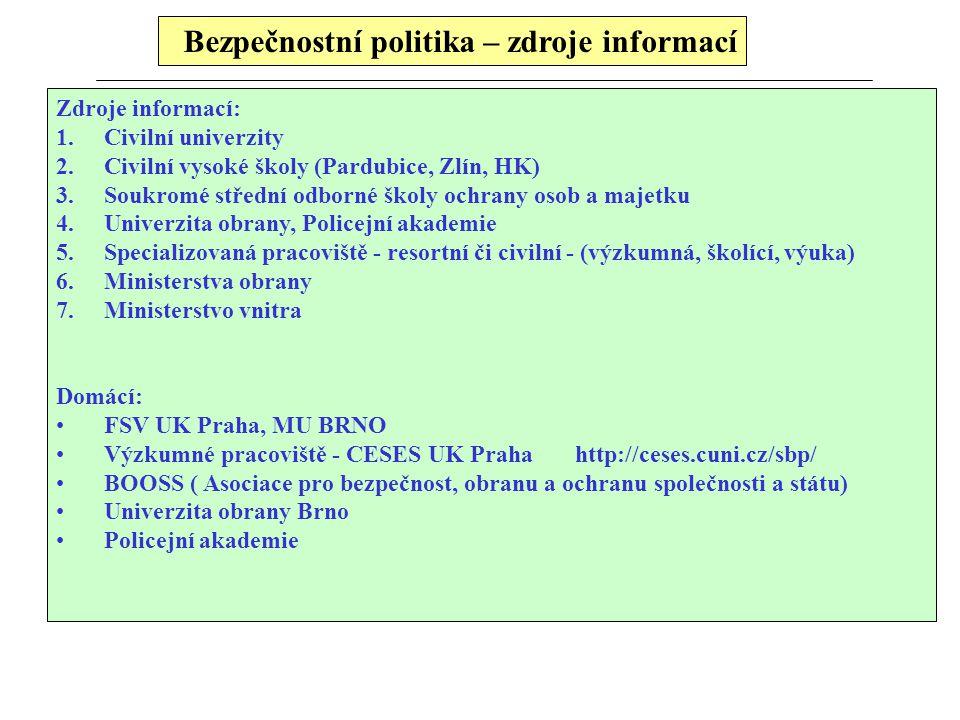Bezpečnostní politika – zdroje informací Zdroje informací: 1.Civilní univerzity 2.Civilní vysoké školy (Pardubice, Zlín, HK) 3.Soukromé střední odborn