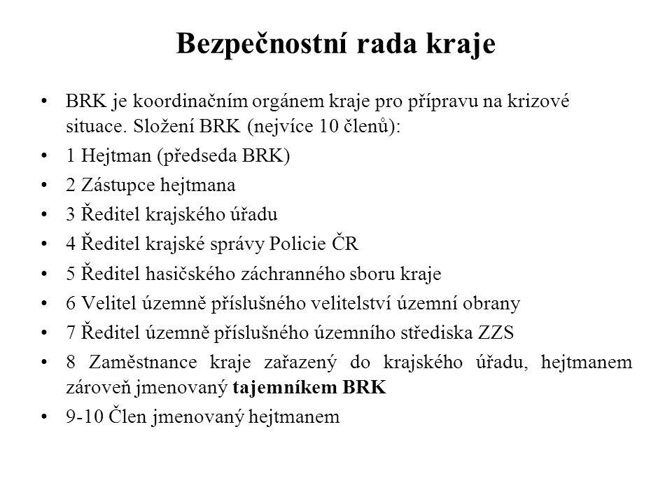 Bezpečnostní rada kraje BRK je koordinačním orgánem kraje pro přípravu na krizové situace. Složení BRK (nejvíce 10 členů): 1 Hejtman (předseda BRK) 2