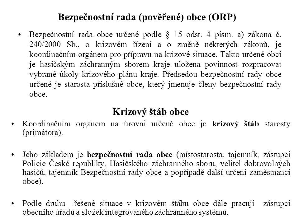 Bezpečnostní rada (pověřené) obce (ORP) Bezpečnostní rada obce určené podle § 15 odst. 4 písm. a) zákona č. 240/2000 Sb., o krizovém řízení a o změně