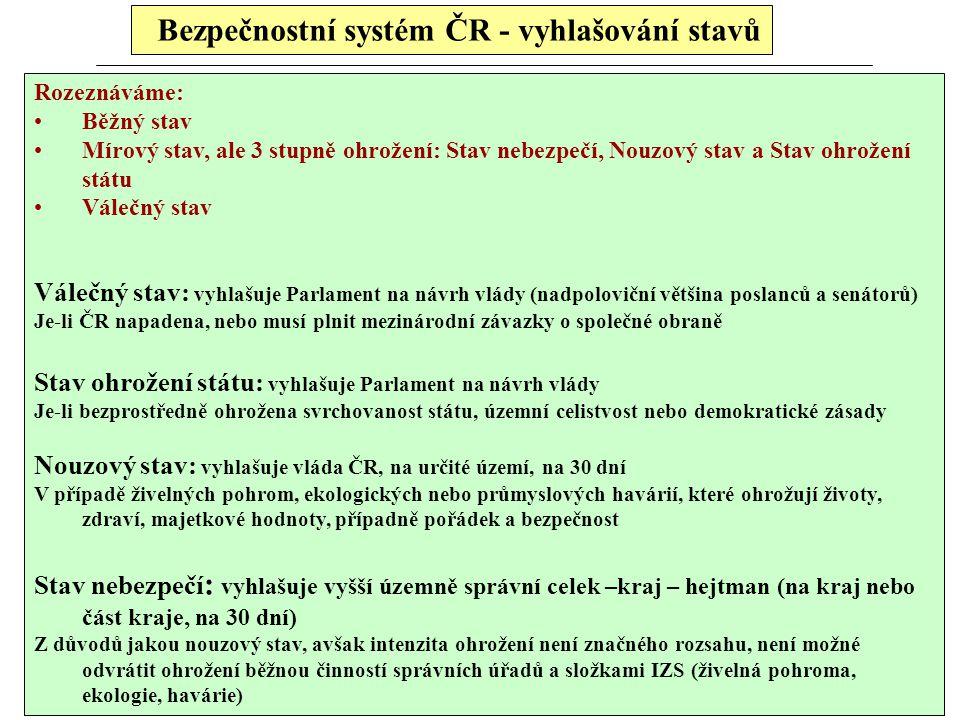 Bezpečnostní systém ČR - vyhlašování stavů Rozeznáváme: Běžný stav Mírový stav, ale 3 stupně ohrožení: Stav nebezpečí, Nouzový stav a Stav ohrožení st