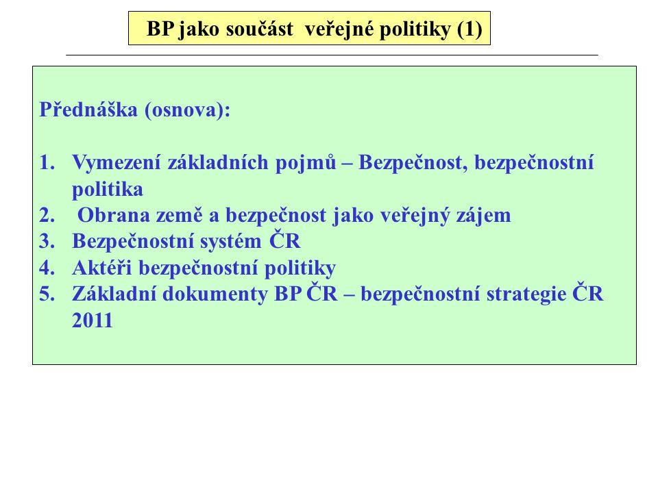 BP jako součást veřejné politiky (1) Přednáška (osnova): 1.Vymezení základních pojmů – Bezpečnost, bezpečnostní politika 2. Obrana země a bezpečnost j