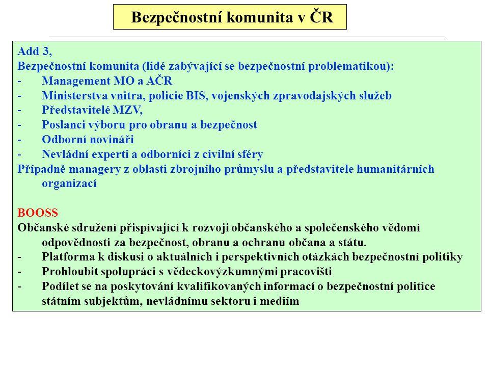 Bezpečnostní komunita v ČR Add 3, Bezpečnostní komunita (lidé zabývající se bezpečnostní problematikou): -Management MO a AČR -Ministerstva vnitra, po