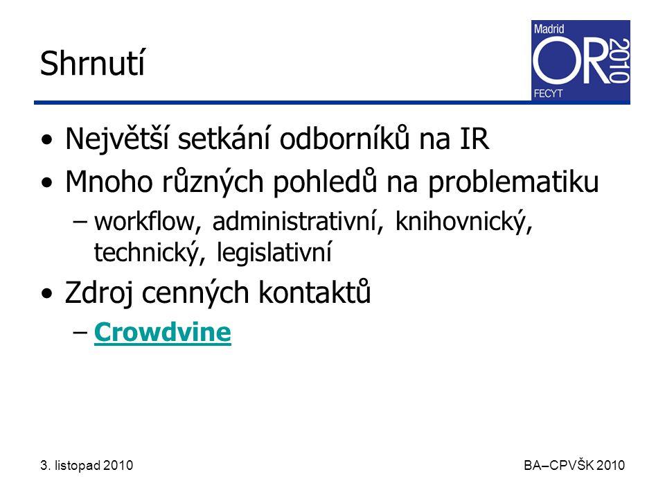 3.listopad 2010 BA–CPVŠK 2010 Pozvánka na OR 2011 Open repositories 2011 –8.