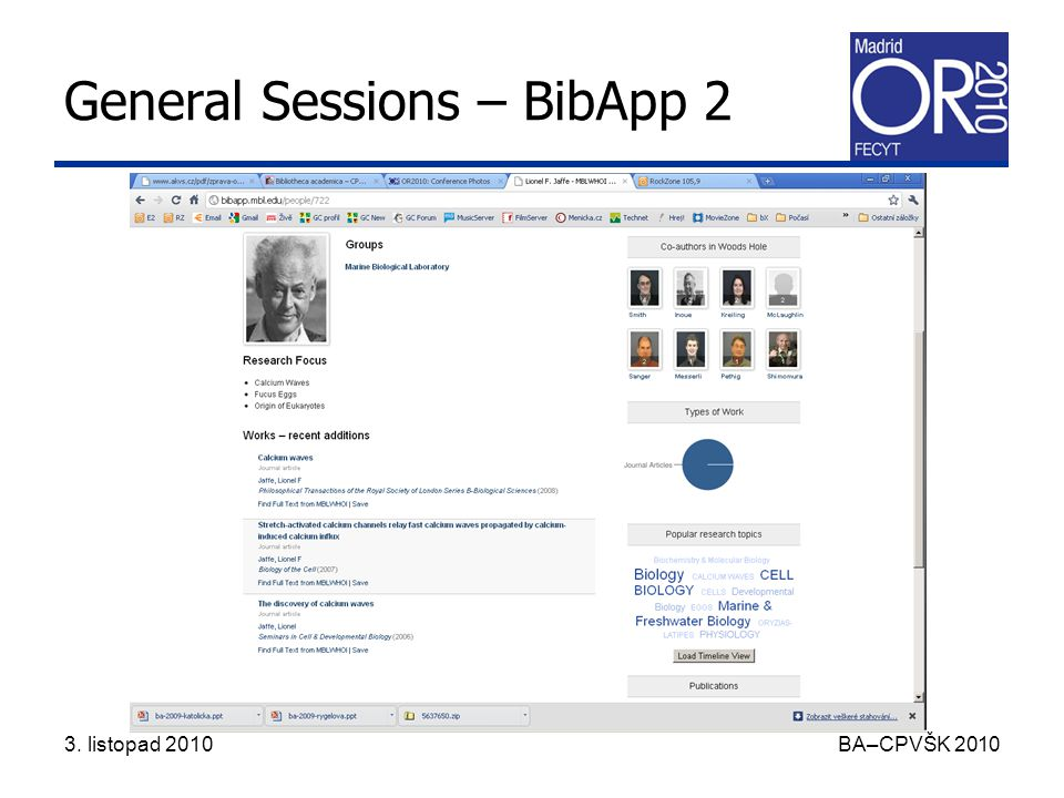 3. listopad 2010 BA–CPVŠK 2010 General Sessions – BibApp 2