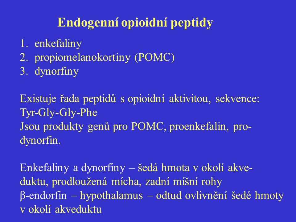 Endogenní opioidní peptidy 1.enkefaliny 2.propiomelanokortiny (POMC) 3.dynorfiny Existuje řada peptidů s opioidní aktivitou, sekvence: Tyr-Gly-Gly-Phe Jsou produkty genů pro POMC, proenkefalin, pro- dynorfin.