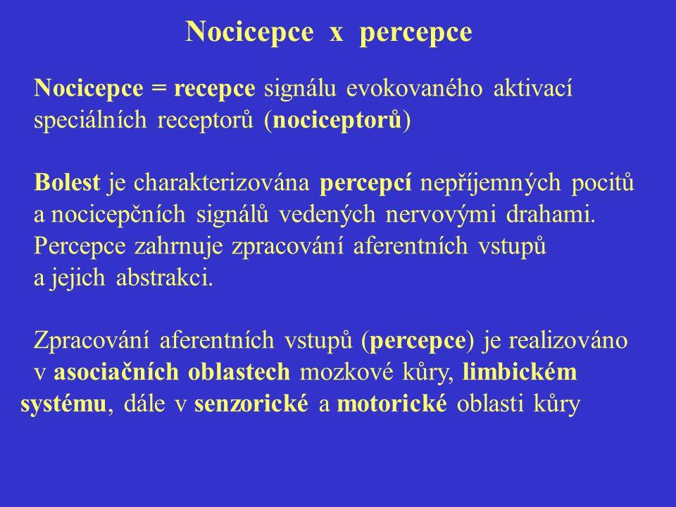 Nocicepce x percepce Nocicepce = recepce signálu evokovaného aktivací speciálních receptorů (nociceptorů) Bolest je charakterizována percepcí nepříjemných pocitů a nocicepčních signálů vedených nervovými drahami.