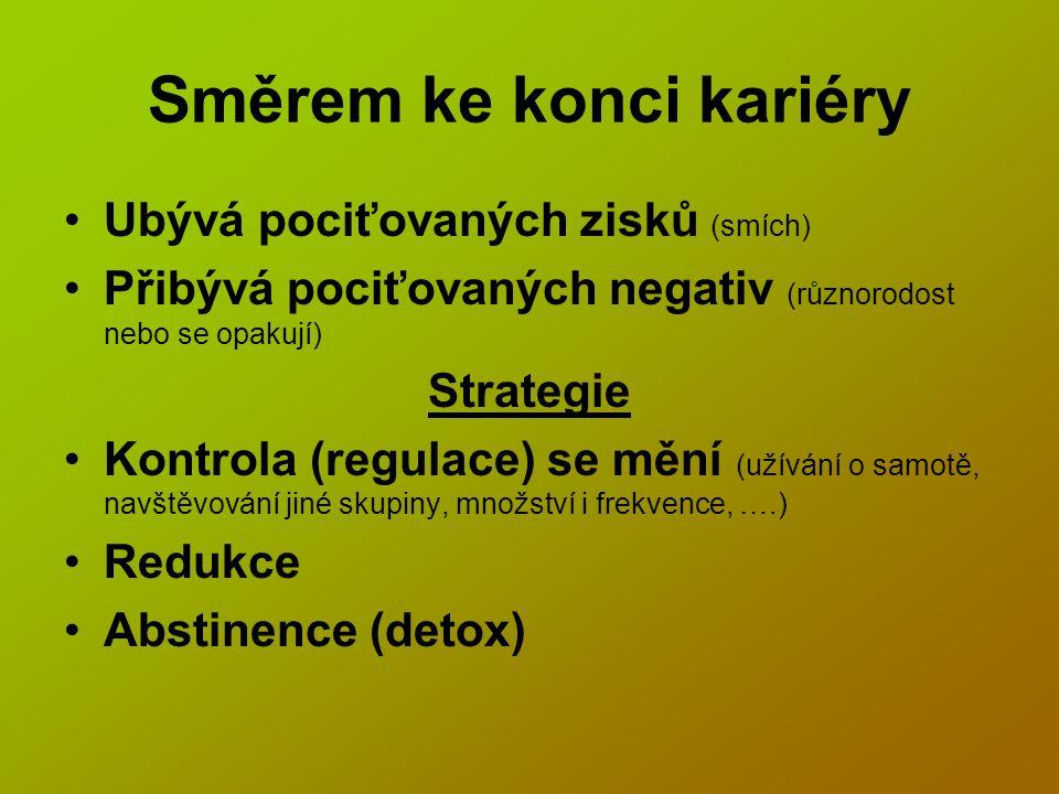 Směrem ke konci kariéry Ubývá pociťovaných zisků (smích) Přibývá pociťovaných negativ (různorodost nebo se opakují) Strategie Kontrola (regulace) se mění (užívání o samotě, navštěvování jiné skupiny, množství i frekvence, ….) Redukce Abstinence (detox)