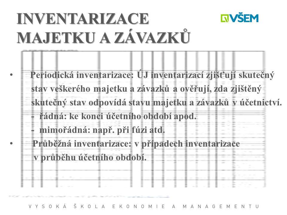 INVENTARIZACE MAJETKU A ZÁVAZKŮ Periodická inventarizace: ÚJ inventarizací zjišťují skutečný stav veškerého majetku a závazků a ověřují, zda zjištěný