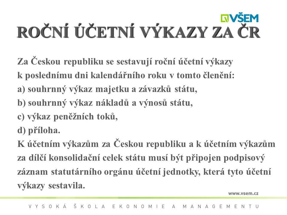 ROČNÍ ÚČETNÍ VÝKAZY ZA ČR Za Českou republiku se sestavují roční účetní výkazy k poslednímu dni kalendářního roku v tomto členění: a) souhrnný výkaz m