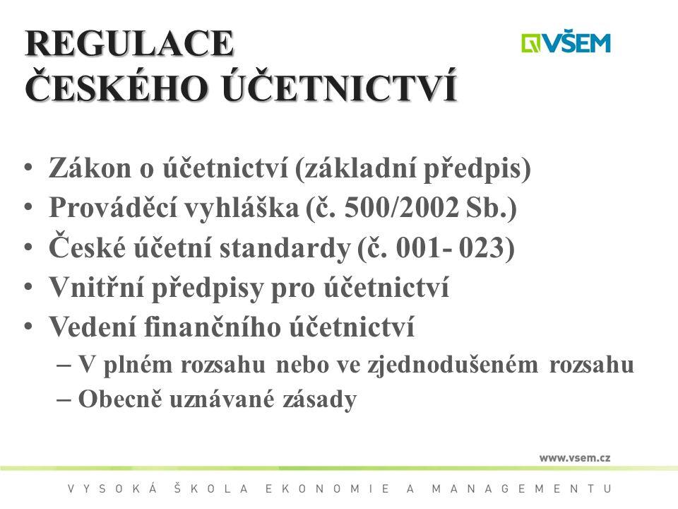 REGULACE ČESKÉHO ÚČETNICTVÍ Zákon o účetnictví (základní předpis) Prováděcí vyhláška (č. 500/2002 Sb.) České účetní standardy (č. 001- 023) Vnitřní př