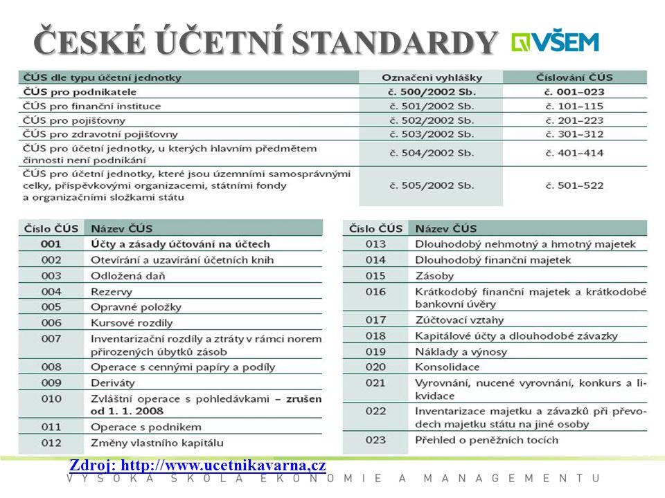 ČESKÉ ÚČETNÍ STANDARDY Zdroj: http://www.ucetnikavarna,cz