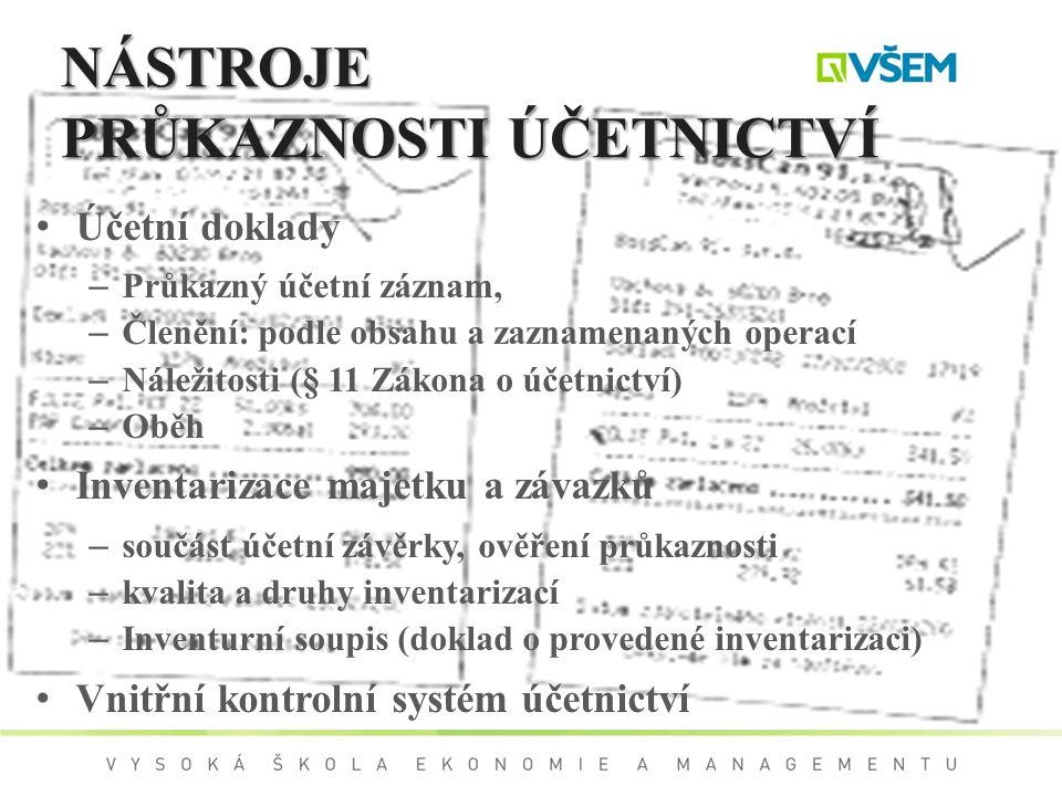 NÁSTROJE PRŮKAZNOSTI ÚČETNICTVÍ Účetní doklady – Průkazný účetní záznam, – Členění: podle obsahu a zaznamenaných operací – Náležitosti (§ 11 Zákona o