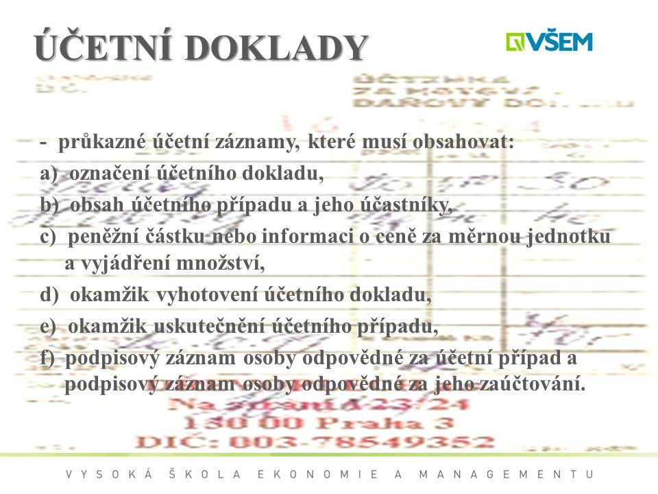 ÚČETNÍ DOKLADY - průkazné účetní záznamy, které musí obsahovat: a) označení účetního dokladu, b) obsah účetního případu a jeho účastníky, c) peněžní č