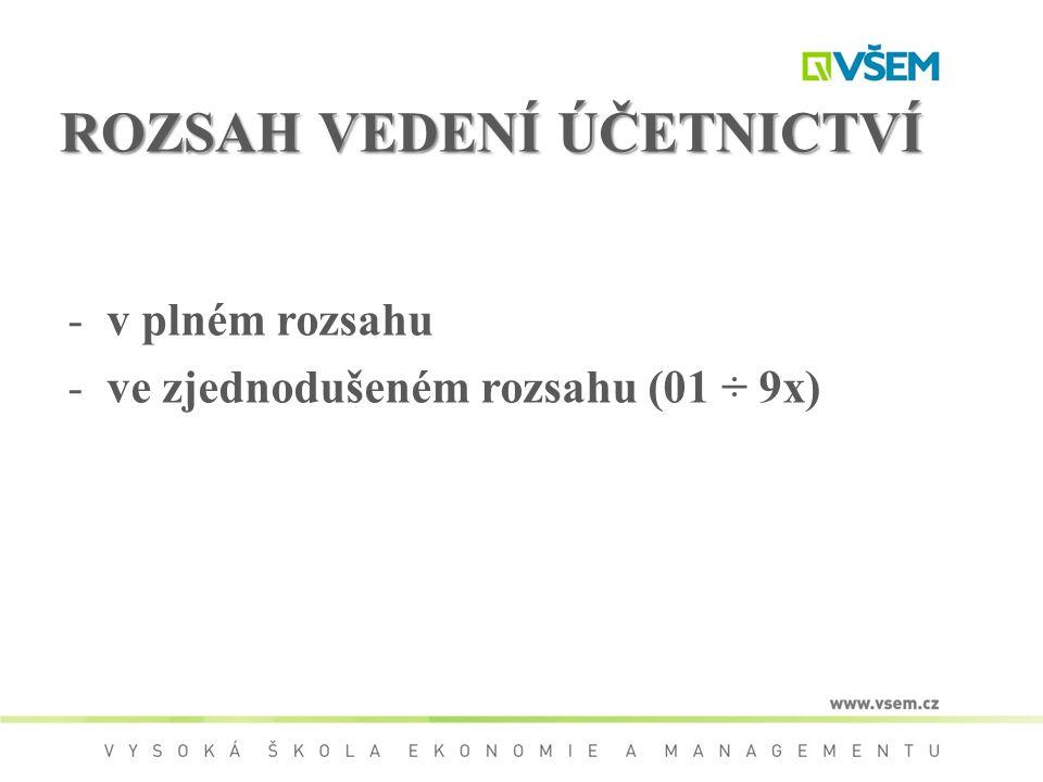 ROZSAH VEDENÍ ÚČETNICTVÍ -v plném rozsahu -ve zjednodušeném rozsahu (01 ÷ 9x)