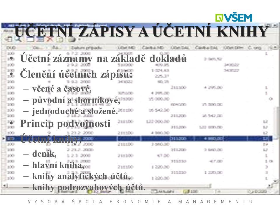 ÚČETNÍ ZÁPISY A ÚČETNÍ KNIHY Účetní záznamy na základě dokladů Členění účetních zápisů: – věcné a časové, – původní a sborníkové, – jednoduché a slože