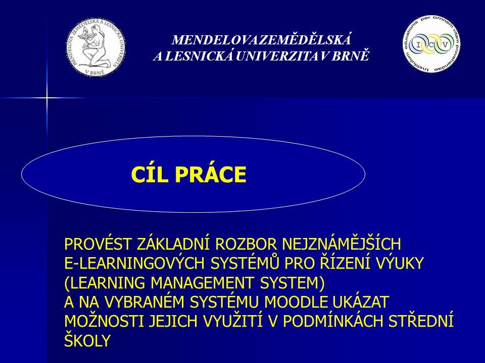 MENDELOVA ZEMĚDĚLSKÁ A LESNICKÁ UNIVERZITA V BRNĚ CÍL PRÁCE PROVÉST ZÁKLADNÍ ROZBOR NEJZNÁMĚJŠÍCH E-LEARNINGOVÝCH SYSTÉMŮ PRO ŘÍZENÍ VÝUKY (LEARNING MANAGEMENT SYSTEM) A NA VYBRANÉM SYSTÉMU MOODLE UKÁZAT MOŽNOSTI JEJICH VYUŽITÍ V PODMÍNKÁCH STŘEDNÍ ŠKOLY