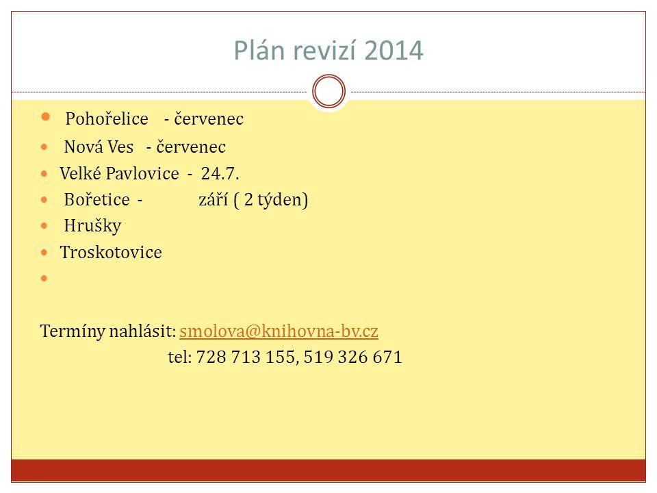 Plán revizí 2014 Pohořelice - červenec Nová Ves - červenec Velké Pavlovice - 24.7.