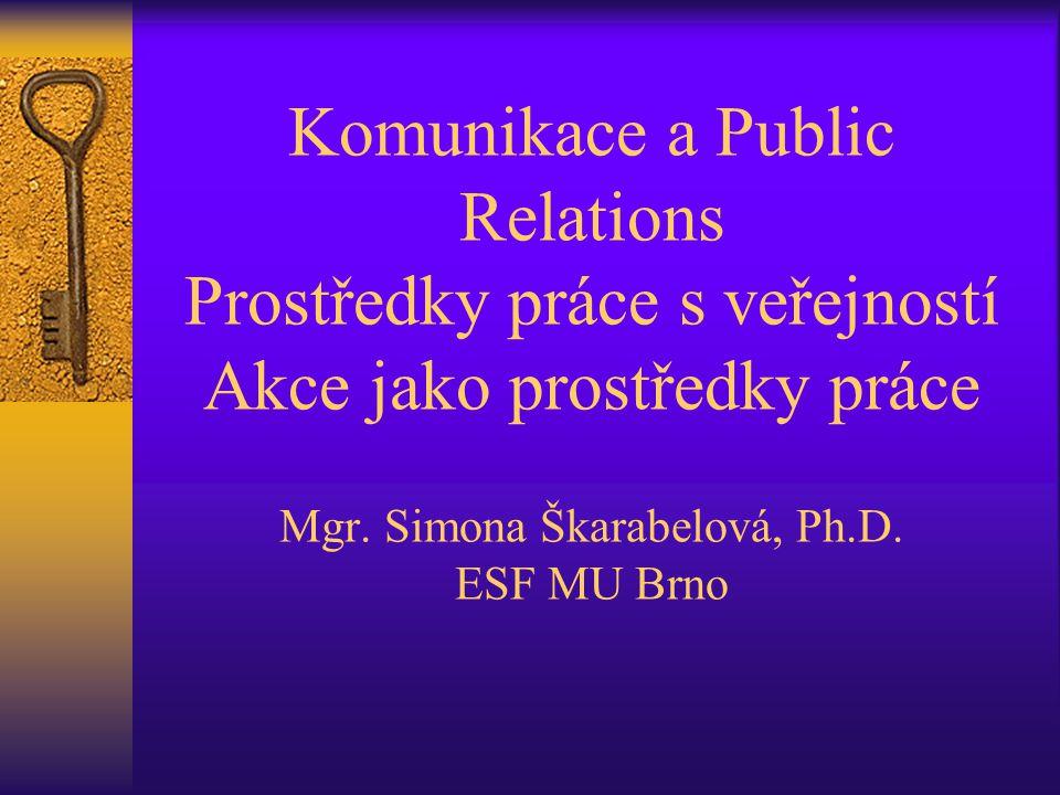 Komunikace a Public Relations Prostředky práce s veřejností Akce jako prostředky práce Mgr. Simona Škarabelová, Ph.D. ESF MU Brno
