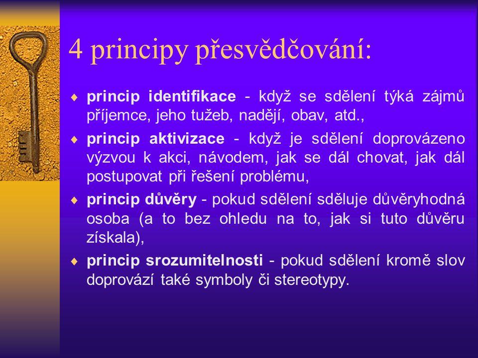 4 principy přesvědčování:  princip identifikace - když se sdělení týká zájmů příjemce, jeho tužeb, nadějí, obav, atd.,  princip aktivizace - když je