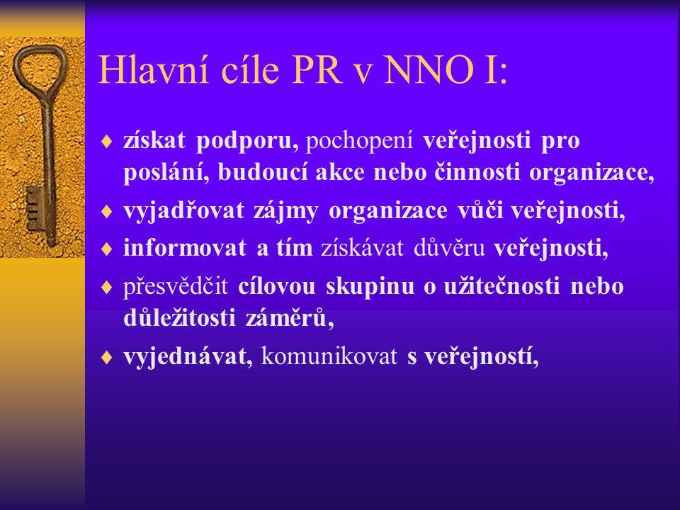 Hlavní cíle PR v NNO I:  získat podporu, pochopení veřejnosti pro poslání, budoucí akce nebo činnosti organizace,  vyjadřovat zájmy organizace vůči