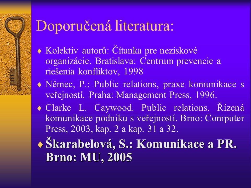 Doporučená literatura:  Kolektiv autorů: Čítanka pre neziskové organizácie. Bratislava: Centrum prevencie a riešenia konfliktov, 1998  Němec, P.: Pu
