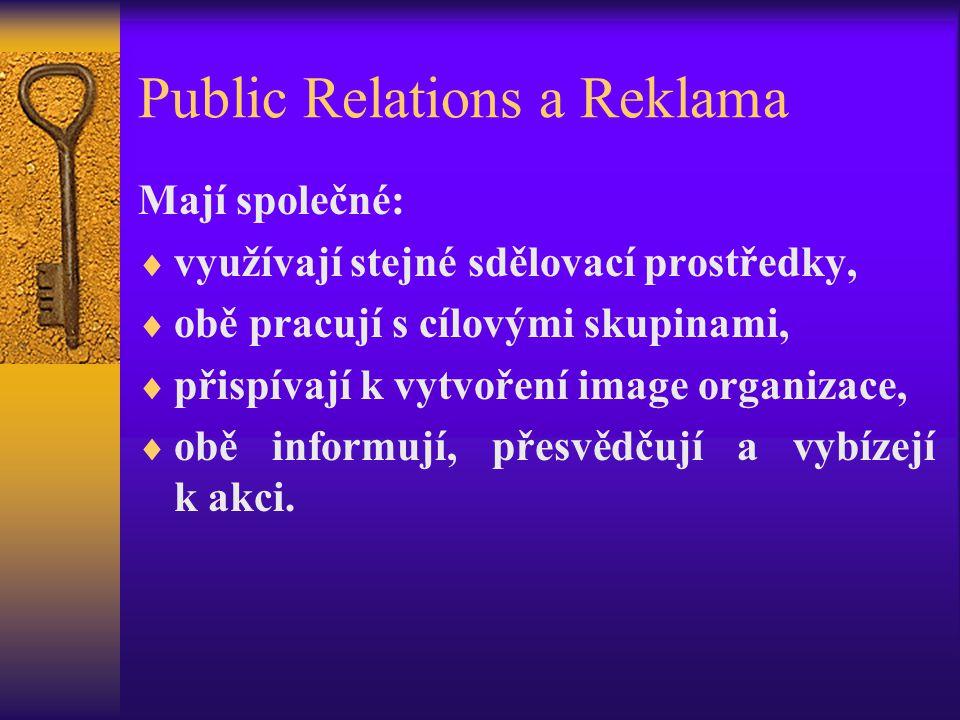 Public Relations a Reklama Mají společné:  využívají stejné sdělovací prostředky,  obě pracují s cílovými skupinami,  přispívají k vytvoření image