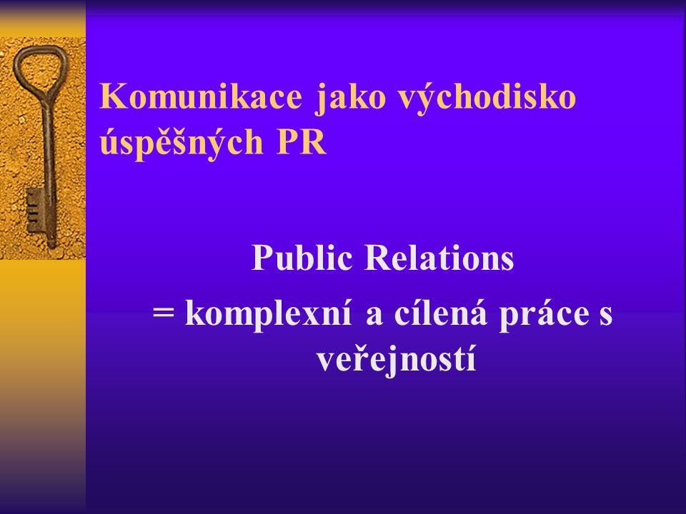 Komunikace jako východisko úspěšných PR Public Relations = komplexní a cílená práce s veřejností