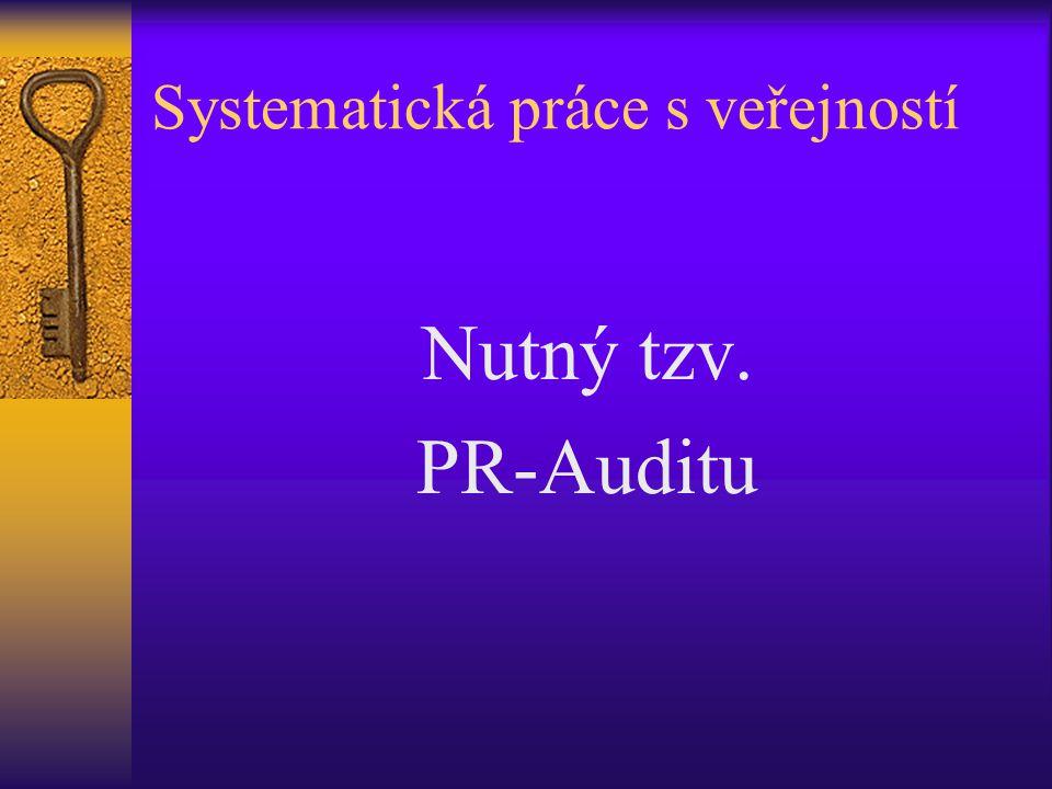 Systematická práce s veřejností Nutný tzv. PR-Auditu