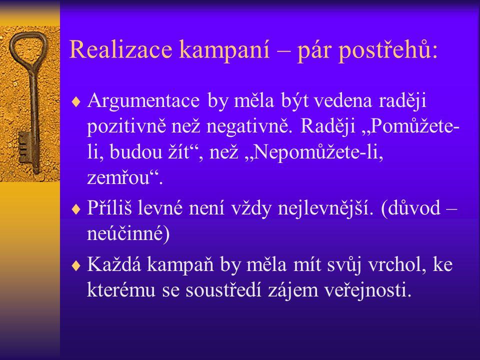 """Realizace kampaní – pár postřehů:  Argumentace by měla být vedena raději pozitivně než negativně. Raději """"Pomůžete- li, budou žít"""", než """"Nepomůžete-l"""