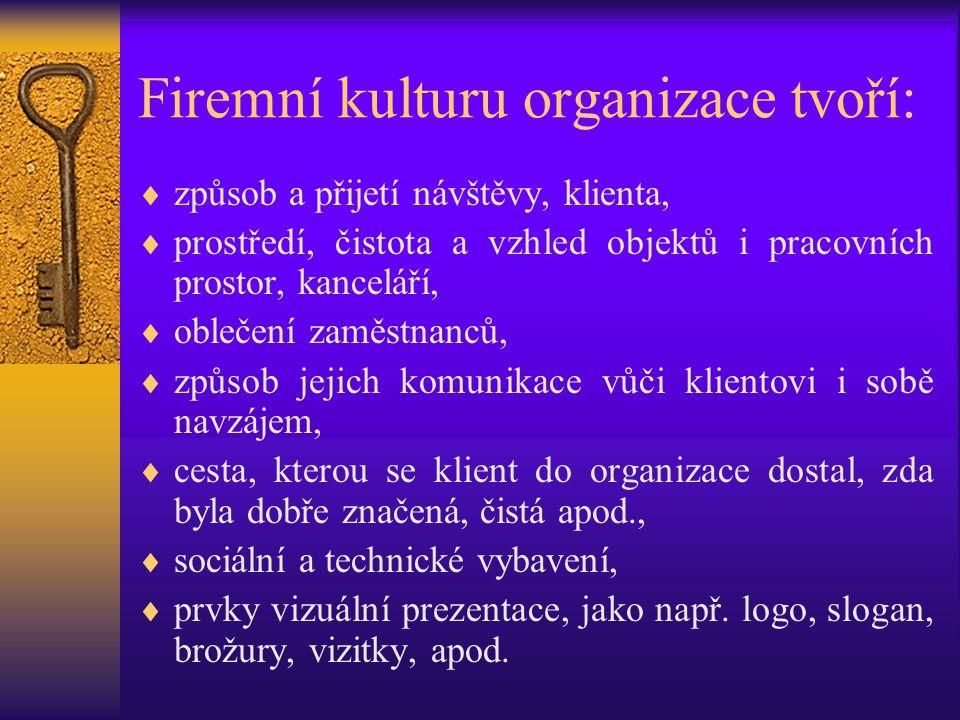 Firemní kulturu organizace tvoří:  způsob a přijetí návštěvy, klienta,  prostředí, čistota a vzhled objektů i pracovních prostor, kanceláří,  obleč