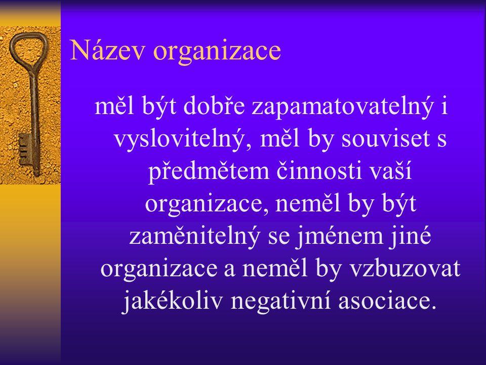 Název organizace měl být dobře zapamatovatelný i vyslovitelný, měl by souviset s předmětem činnosti vaší organizace, neměl by být zaměnitelný se jméne