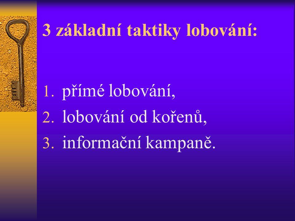 3 základní taktiky lobování: 1. přímé lobování, 2. lobování od kořenů, 3. informační kampaně.