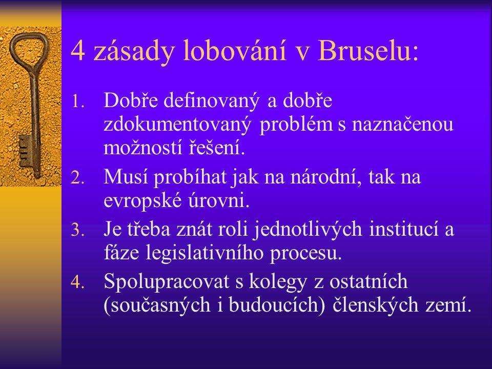 4 zásady lobování v Bruselu: 1. Dobře definovaný a dobře zdokumentovaný problém s naznačenou možností řešení. 2. Musí probíhat jak na národní, tak na