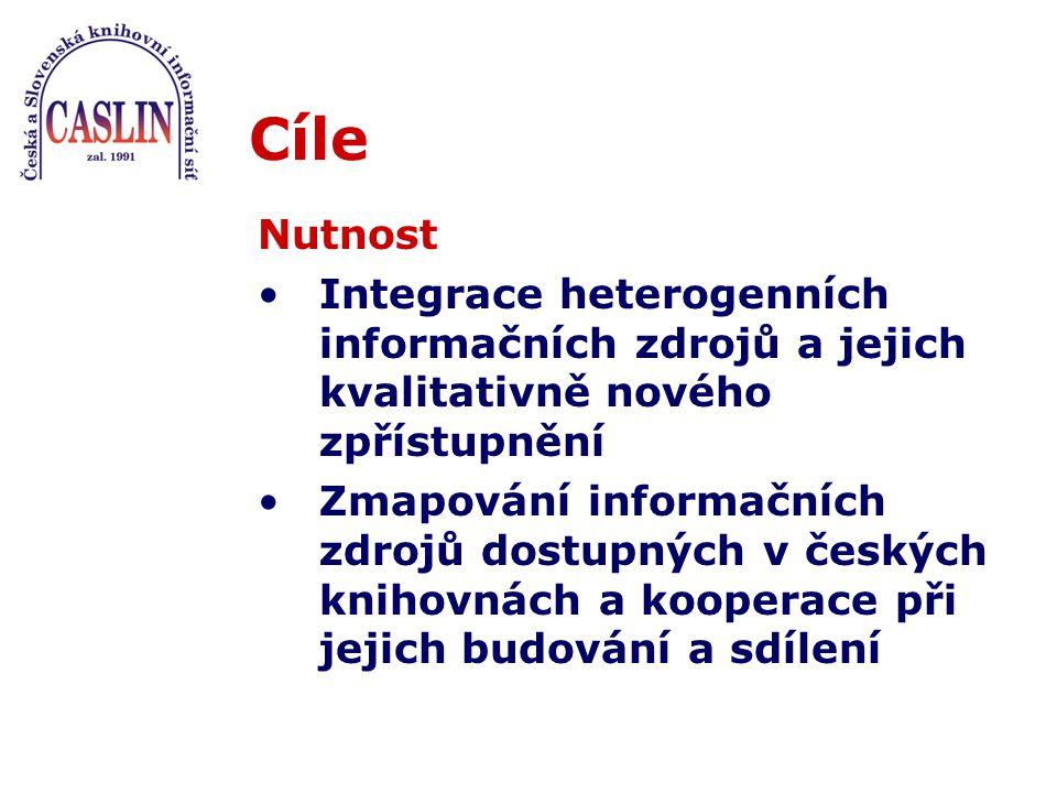 Cíle Nutnost Integrace heterogenních informačních zdrojů a jejich kvalitativně nového zpřístupnění Zmapování informačních zdrojů dostupných v českých knihovnách a kooperace při jejich budování a sdílení
