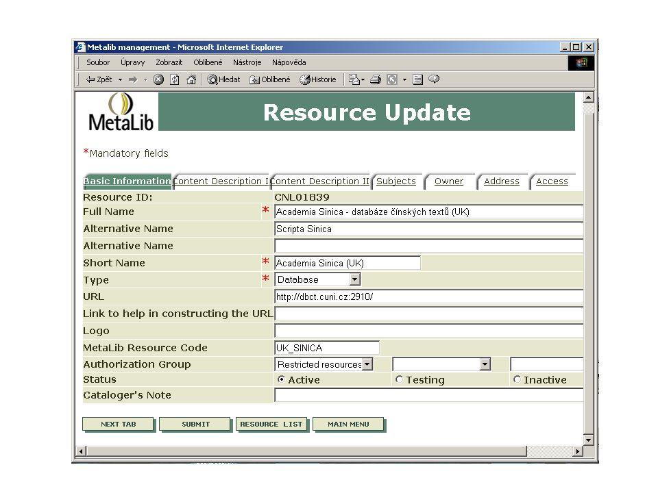Kontextově orientované spojení Popis uživatele Administrace uživatelů Popis zdrojů, informace o zdrojích SFX Server Znalostní báze Popis uživatele Znalostní báze Přesné, cílově orientované prohledávání vyhledávání
