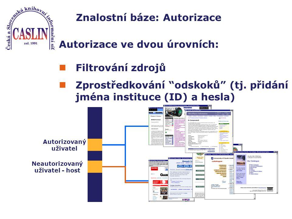 Znalostní báze: Autorizace Autorizace ve dvou úrovních: Filtrování zdrojů Zprostředkování odskoků (tj.