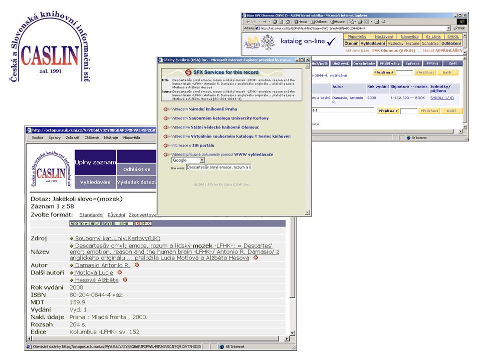 Universal Gateway User Admin Information Gateway SFX Server Kontextově orientované spojení Popis uživatele Administrace uživatelů Popis zdrojů, informace o zdrojích SFX Server Znalostní báze SFX Znalostní báze Přesné, cílově orientované prohledávání vyhledávání