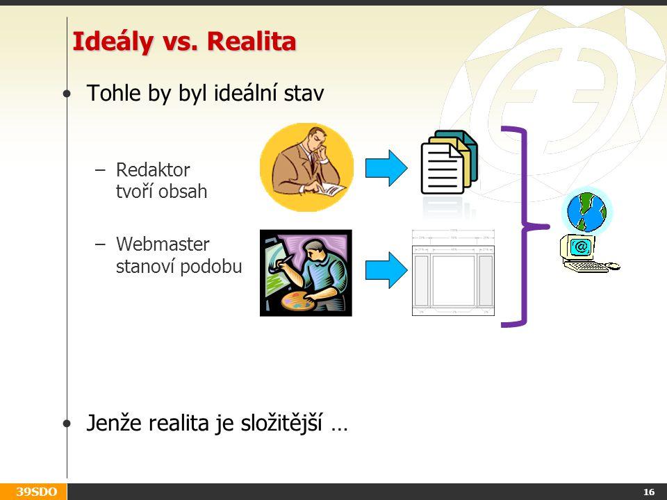 39SDO 16 Ideály vs. Realita Tohle by byl ideální stav –Redaktor tvoří obsah –Webmaster stanoví podobu Jenže realita je složitější …