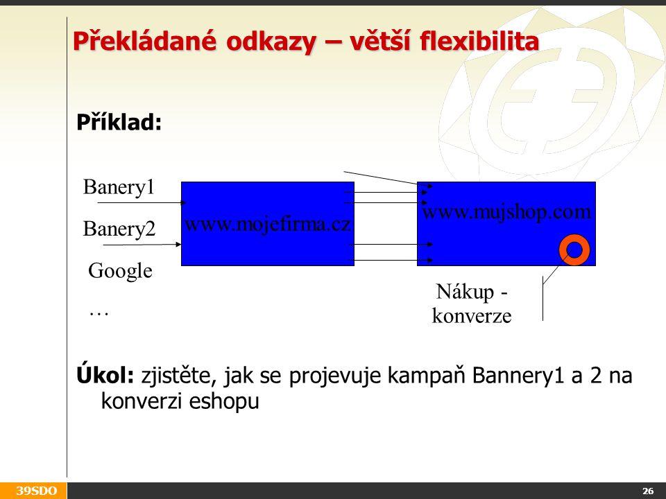 39SDO 26 Překládané odkazy – větší flexibilita Příklad: Úkol: zjistěte, jak se projevuje kampaň Bannery1 a 2 na konverzi eshopu www.mojefirma.cz www.mujshop.com Google … Banery1 Banery2 Nákup - konverze