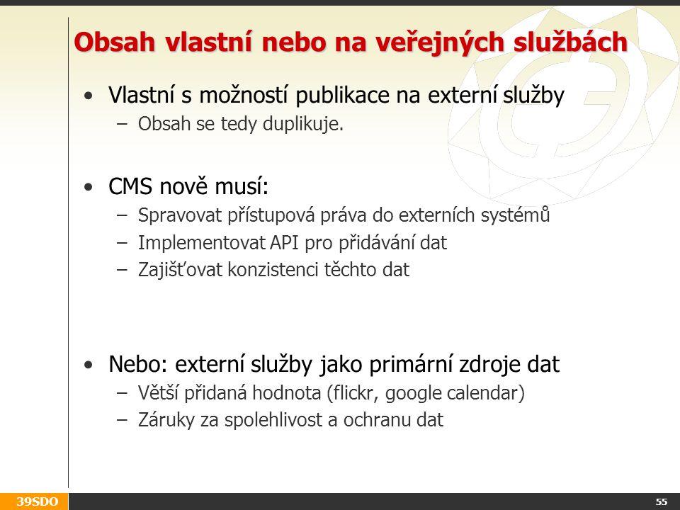 39SDO 55 Obsah vlastní nebo na veřejných službách Vlastní s možností publikace na externí služby –Obsah se tedy duplikuje. CMS nově musí: –Spravovat p