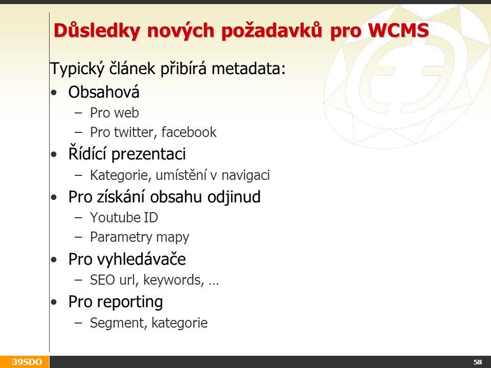 39SDO Důsledky nových požadavků pro WCMS Typický článek přibírá metadata: Obsahová –Pro web –Pro twitter, facebook Řídící prezentaci –Kategorie, umístění v navigaci Pro získání obsahu odjinud –Youtube ID –Parametry mapy Pro vyhledávače –SEO url, keywords, … Pro reporting –Segment, kategorie 58
