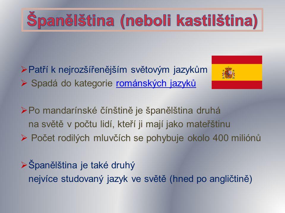  Patří k nejrozšířenějším světovým jazykům  Spadá do kategorie románských jazykůrománských jazyků  Po mandarínské čínštině je španělština druhá na světě v počtu lidí, kteří ji mají jako mateřštinu  Počet rodilých mluvčích se pohybuje okolo 400 miliónů  Španělština je také druhý nejvíce studovaný jazyk ve světě (hned po angličtině)