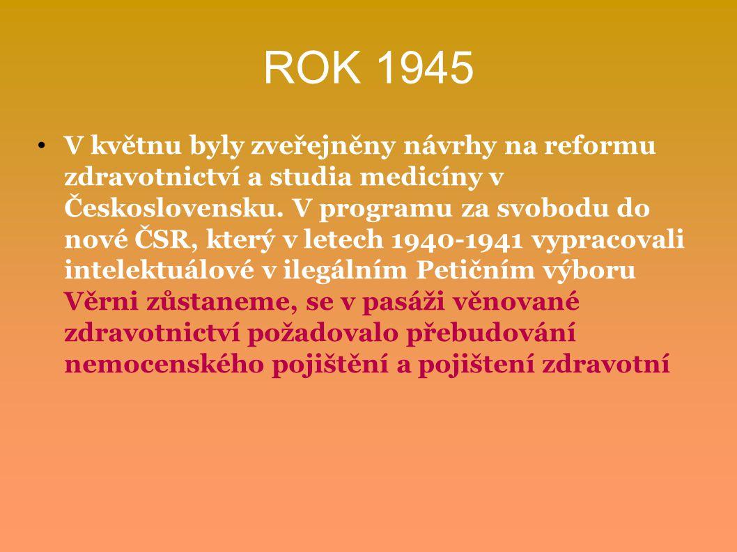 ROK 1945 V květnu byly zveřejněny návrhy na reformu zdravotnictví a studia medicíny v Československu. V programu za svobodu do nové ČSR, který v letec