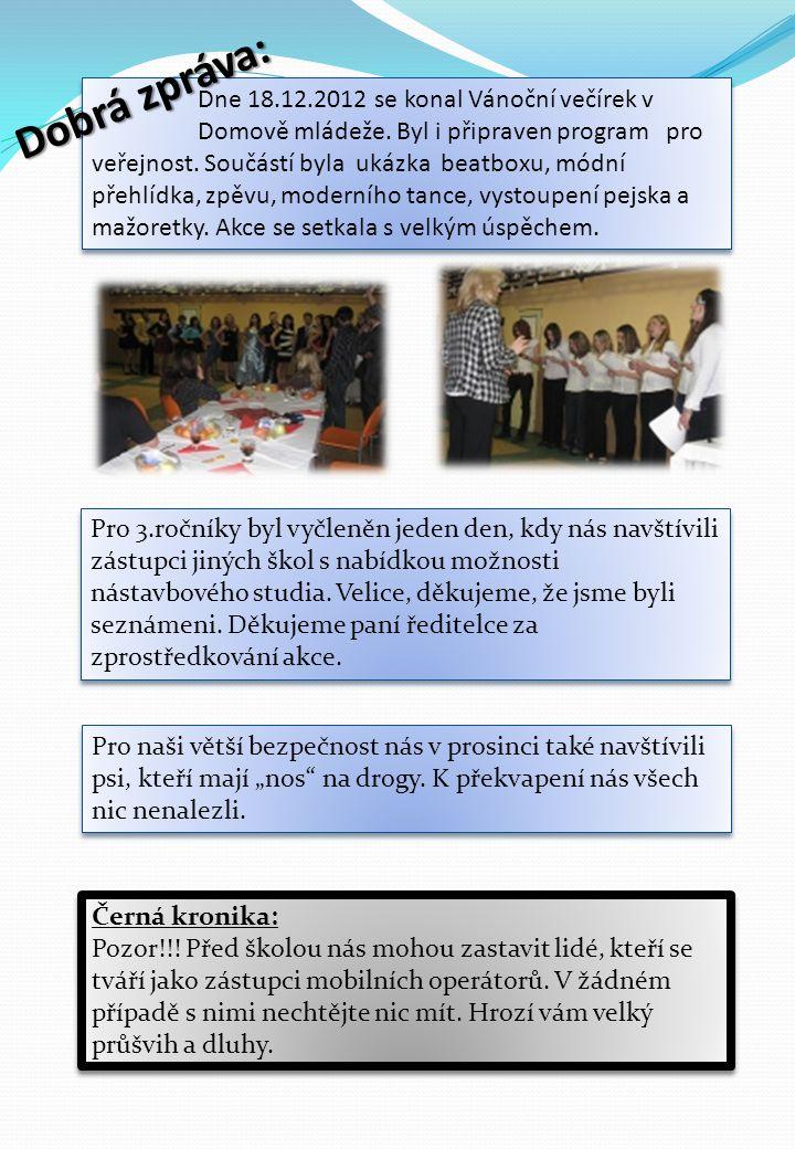 Dne 18.12.2012 se konal Vánoční večírek v Domově mládeže. Byl i připraven program pro veřejnost. Součástí byla ukázka beatboxu, módní přehlídka, zpěvu