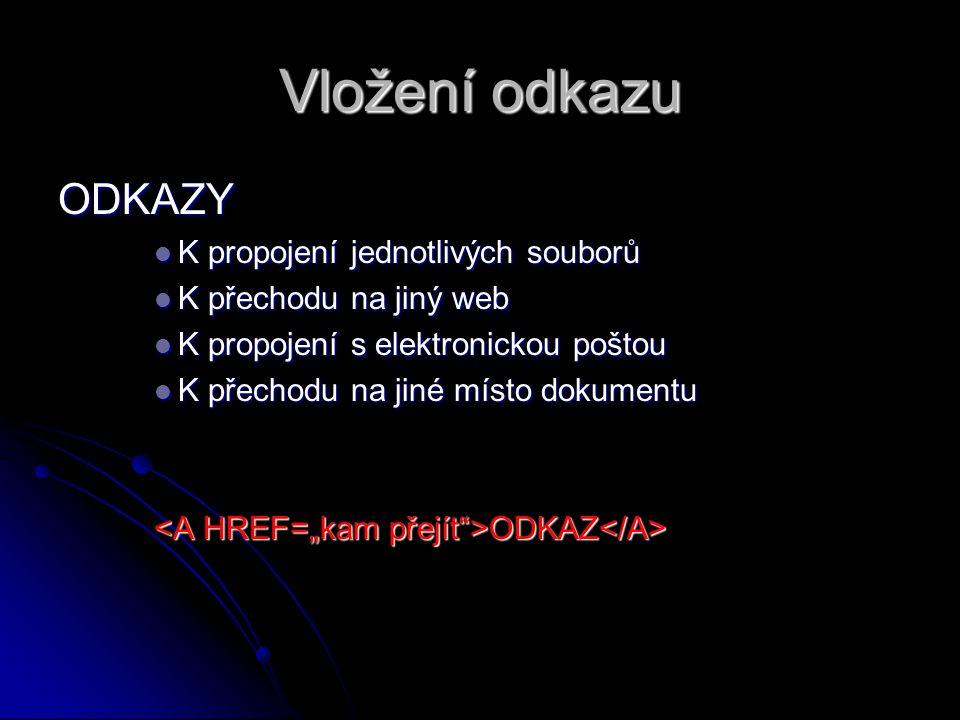 Vložení odkazu ODKAZY K propojení jednotlivých souborů K propojení jednotlivých souborů K přechodu na jiný web K přechodu na jiný web K propojení s el