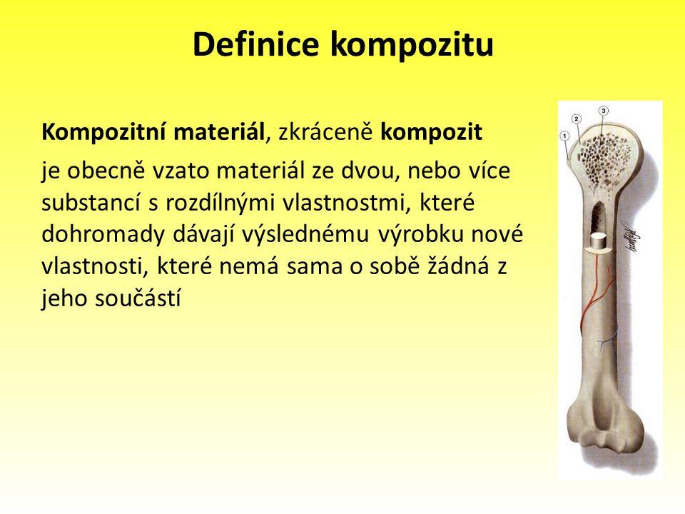 Definice kompozitu Kompozitní materiál, zkráceně kompozit je obecně vzato materiál ze dvou, nebo více substancí s rozdílnými vlastnostmi, které dohrom